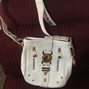 Louis Vuitton white and gold satchel